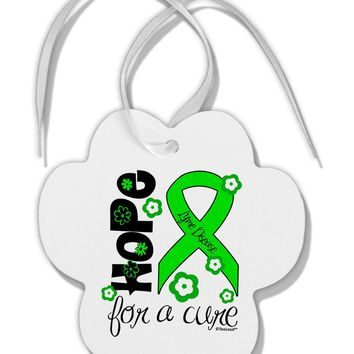 Hope for a Cure - Lime Green Ribbon Lyme Disease - Flowers Paw Print Shaped Ornament