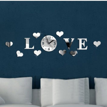 Creative Mirror Strong Character Acrylic Living Room Wall Sticker Diy Decoration Clock [6057116545]