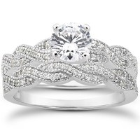 Real .70CT Pave Diamond Matching Engagement Wedding Ring Set Vintage Milgrain