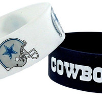 Dallas Cowboys Rubber Bracelets 2 Pack Silicone Wristbands OSFM Licensed New