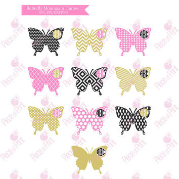 Butterfly Monogram Frames SVG EPS DXF png Cut Files Cricut Silhouette Studio Vinyl Cutting files Vector Graphics
