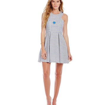 BCBGeneration Stripe-Print Fit-and-Flare Tweed Dress | Dillards