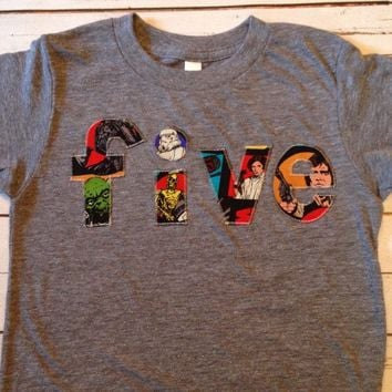 Boys Birthday Shirt Triblend Grey  Size 5T five