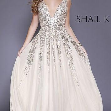 A-Line Deep V-Neck Prom Dress with Sequins