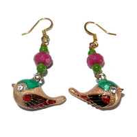 Beaded Cloisonne Bird Dangle Charm Earrings