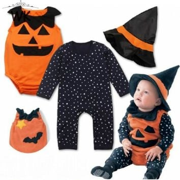 Baby Romper 3Pcs Halloween Costume Spring Autumn-Born Clothes + Boys Girls Hat Overalls For Kids Romper Baby pumpkin suit JP-354