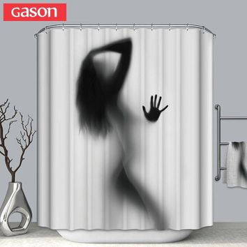 GASON Bathroom curtain High Quality Nature Waterproof Polyester 2m Fabric girl  Shadow woman Simple Shower curtain US Portrait