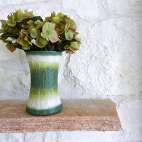 Beige and Green Vase /  Glass and Stucco Vase / Handcrafted home decor