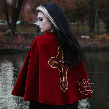 Red Cape, Velvet Cape, Gothic Cape, Red Coat, Velvet Coat, Embellished Coat, Baroque Cross, Short Cape, Capelet, Red Capelet, Velvet Capelet