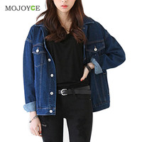 Fashion Loose Denim Jacket Casual Long Sleeve Pockets Outerwear Women Jacket Jean Coat Plus Size Jean Jacket Women Outerwear