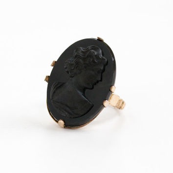 Vintage 10k Rosy Yellow Gold Filled Black Cameo Ring - Art Deco 1930s Size 7 Hallmarked M for McGrath Hamin Statement Simulated Onyx Jewelry
