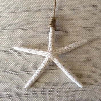 Real starfish Christmas ornament, sugar starfish or finger starfish Christmas ornament with hemp cord.