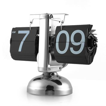Retro Auto Flip Down Clock Desk Table Internal Gear Operated Single Scale Stand clock