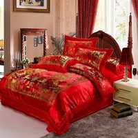 Luxurious Traditional Chinese Style Wedding Bedding Sets Red Embroidery Silk Duvet Covers Green Embroidery Silk Duvet Covers