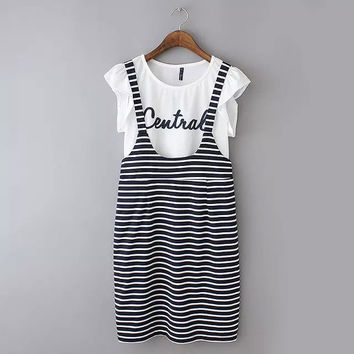 Summer Korean Women's Fashion Casual High Rise Stripes Dress Bottom & Top [6514068615]