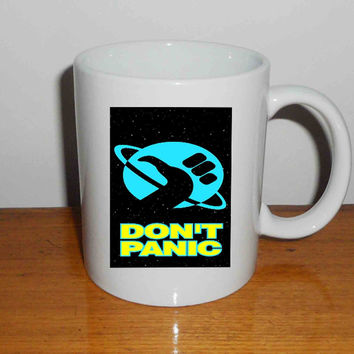 "Hitchhiker s Guide To The Galaxy Don t Panic MuscleCustom - Mug, Quote Mug, Beyonce Mug, Ceramic Mug, typography, Beyonce Quote, Cup Mug ""NP"""