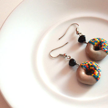 Chocolate donut with colorful smarties sweets food snacks Earrings - handmade polymer clay