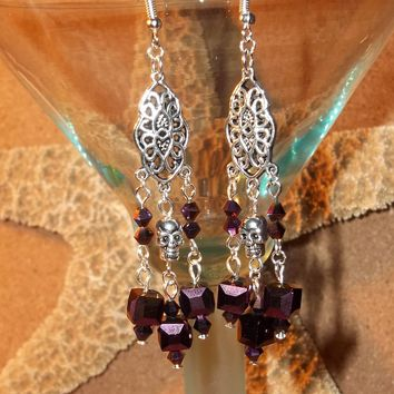 Skull Victorian Goth Rocker Deep Purple Irridescent Square Beaded Hand Crafted Chandelier Earrings