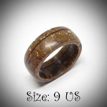 Size 9 US, Brown ring, Corian ring, Wood ring, Wooden jewelry, Cocobolo ring, Band ring, Engagement ring, Men ring, Women ring, Rings