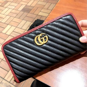GUCCI 2019 new high-end simple female models zipper wallet card holder