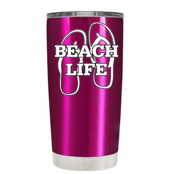 The Beach Life Sandals on Translucent Pink 20 oz Tumbler Cup