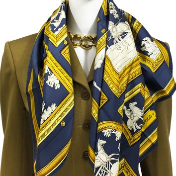 On HOLD Hermes Silk Scarf Wedgwood Early Issue Navy