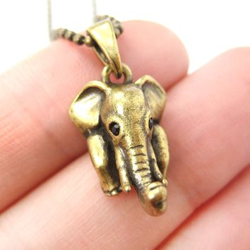 Elephant Realistic Animal Charm Necklace in Brass | Animal Jewelry
