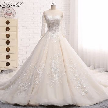 Gelinlik Lace Tulle Wedding Dresses 2018 Corset Back robe de mariage Scoop vestidos de noiva Bridal Gowns Long Sleeve