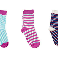 PACT Women's Americana Stripe Crew Sock 3 Pack