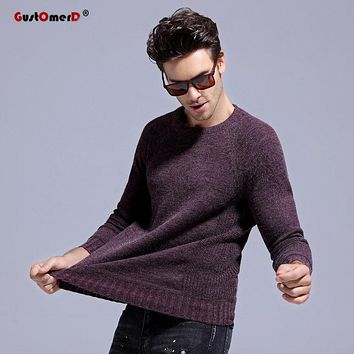 GustOmerD 2017 New Autumn Winter O Neck Warm Rabbit Fur Sweater Men Patchwork Knitting Slim Mens Sweaters And Pullover Men