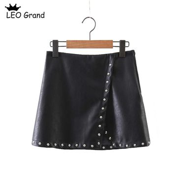 Leo Grand women punk black skirts rivet design streetwear faldas side zipper chic mini skirts mujer leather high waist 914014