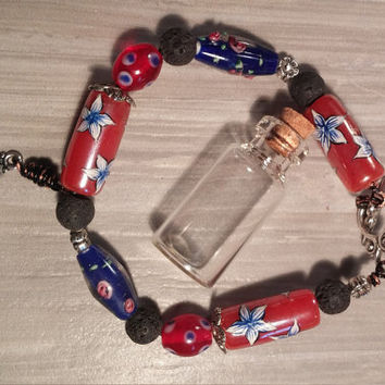Lava bead with essential oil braclet