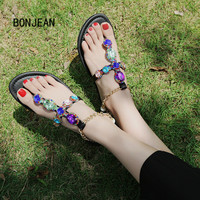 Women Sandals Flats Shoes Flip Flops Summer Crystal Bohemia Rhinestone Flat Metal Chain Beach Shoes Women Heels Sandalias Mujer
