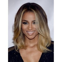 Graceful Medium Wavy Synthetic Nobby Centre Parting Brown Blonde Ombre Wig For Women