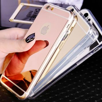 Luxury Aluminum Metal Feeling Mirror Case for funda iphone 8 7 Plus 6s 5s SE Gold Case Soft Clear TPU Electroplating Accessories