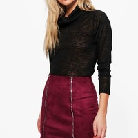 Calla Double Zip Front Suedette Mini Skirt | Boohoo