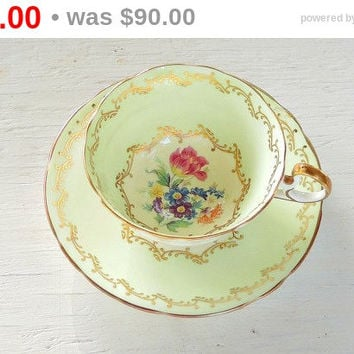 Antique Footed Aynsley Tea Cup and Saucer,Mint Green, Tea Party,  English Bone China Signed and Numbered