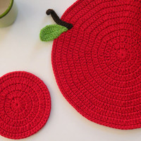 Crochet  Red Apple Placemat and a Coaster, Table Topper, Place Mat, Table Decoration Crochet