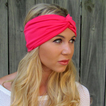 Lycra Twist Turban Headband Hot Pink Head Wrap Turband All Around Stretch Wide Double Layer Womens Hair Accessory or Choose Your Color