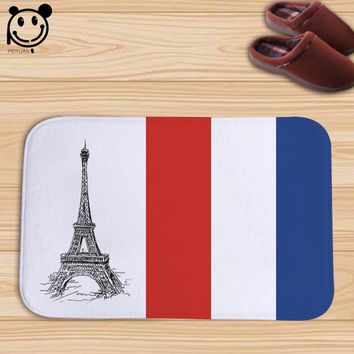 Autumn Fall welcome door mat doormat PEIYAUN Printed French Flag and Paris Tower Soft Flannel  Factory Custom Made Indoor Throw Rug 40x60cm AT_76_7