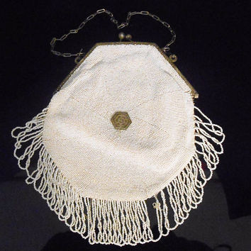 Art Deco Purse Sterling Marcasite White Glass Micro Bead Bag Purse Lambskin Liner 1930's