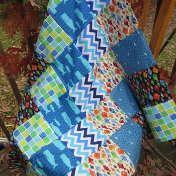 Custom Handmade Whales, Fish, Ocean Patchwork Crib Quilt - Modern Crib Quilt  - Choose Your Backer - Minky or Fleece