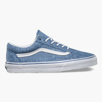 Vans Denim Chevron Old Skool Womens Shoes Blue  In Sizes