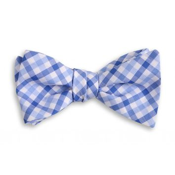 Blake Check Bow Tie in Blue by High Cotton
