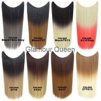 Flip In Synthetic Heat Resistance Ombre Hair Extensions Secret Miracle Two Tone Straight Hair Pieces Wire,No clip,50g,22inch