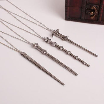 1Pcs/set Hot sale Hermione Harry Potter magic wand magic wand alloy necklace key chain necklace vintage