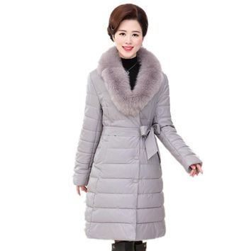 Women Winter Faux Leather Jacket  2017 New Mother Loose Parkas Large Fur Collar Long Coat Middle Aged Female Outerwear Clothing