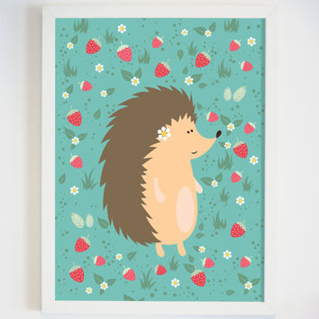 Hedgehog Art Print for Wall - Animal Art for Baby Nursery Wall - Small Child Wall Art - Hedgehog and Strawberry Art Print - Baby Girl Gift