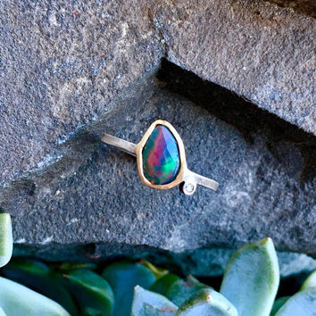 Black Opal and Diamond Gold & Blackened Silver Ring
