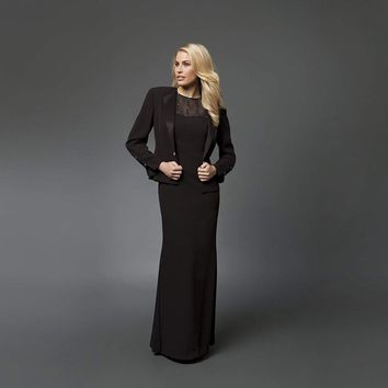 Daymor Couture - 702105 Classy Sheer Beaded Sheath Dress With Jacket